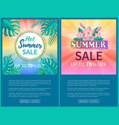 hot summer sale poster up to 70 off banner frame vector image