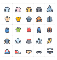 icon set - clothing man stroke with color vector image