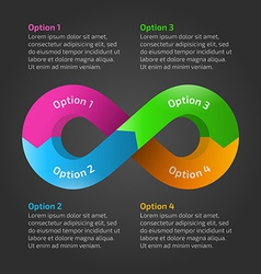 Infinity loop timeline infographic with text vector