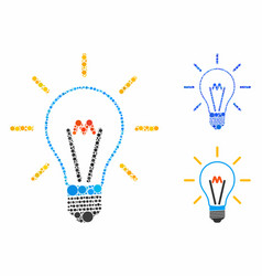 Invent bulb composition icon round dots vector
