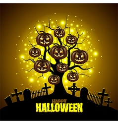 Magic tree with pumpkins Halloween background vector