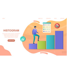 male character is climbing up colorful histogram vector image