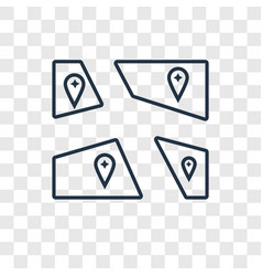 map concept linear icon isolated on transparent vector image