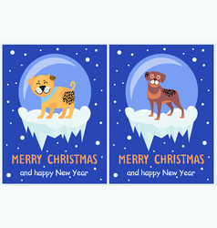 Merry christmas and happy new year banners puppies vector