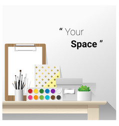 Mock up wall scene with school supplies vector