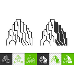 mountain simple black line climbing icon vector image
