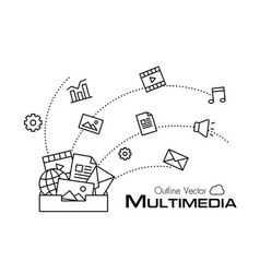 multimedia box outline style vector image