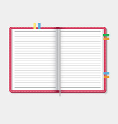 open notebook on light gray background vector image