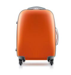 orange plastic suitcase on white background vector image