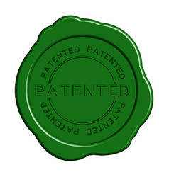 Patented word green color rubber stamp on white vector