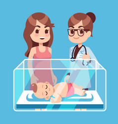 Pediatrician doctor mother with little newborn vector