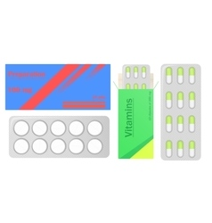 Pills in pack tablets in box medical drugs vector