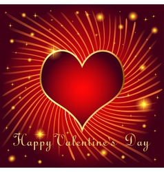 Postcard on Valentines day with hearts of gold col vector