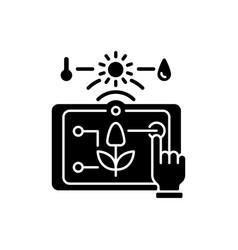 precision agriculture black glyph icon vector image