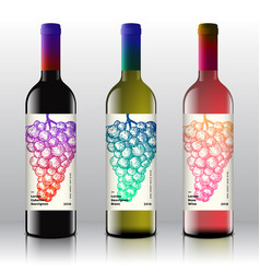 premium quality red white and pink wine labels vector image