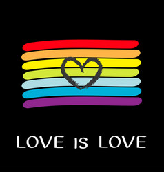rainbow flag lgbt gay symbol love is love text vector image