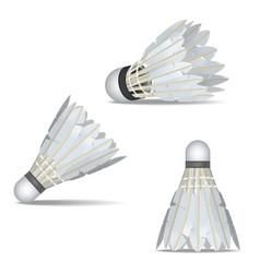 realistic detailed 3d white shuttlecocks for vector image
