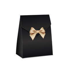realistic white 3d model black cardboard gift box vector image