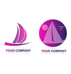 Sailboat logo design vector image vector image