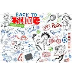 School doodles set vector image