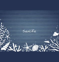 Sealife and bubble on blue wood background border vector