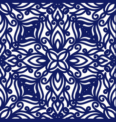 seamless floral pattern of curls blue and white vector image