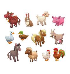 Set cute cartoon farm animals vector