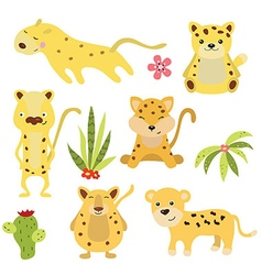 Set funny leopards vector image