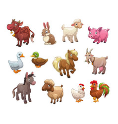 Set of cute cartoon farm animals vector