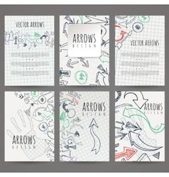 Set of six designs of hand-drawn arrow vector image