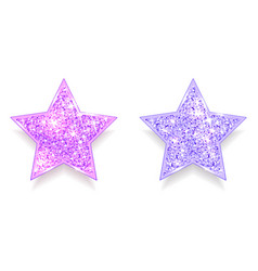 set sparkling pink and purple stars vector image