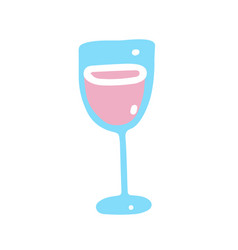 simple icon with glass with pink champagne vector image