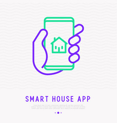smart house mobile app smartphone in hands vector image