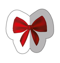 Sticker realistic cute red ribbon with bow vector
