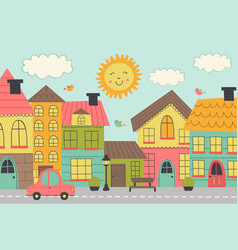 Street of a small town vector