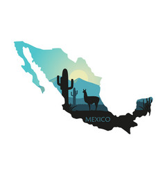stylized landscape mexico with a llama and vector image