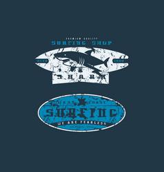 Surfing shop emblems graphic design for t-shirt vector