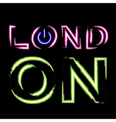 T shirt typography graphics London city neon vector