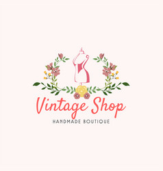 tailor sewing vintage mannequin fashion logo vector image