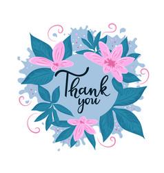 Thank you hand lettering thanksgiving flower frame vector