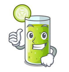 Thumbs up cucumber juice in a cartoon glass vector