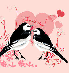 valentine invitation card with couple birds vector image