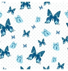 vintage seamless background with butterflies vector image