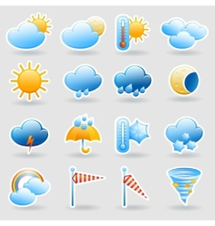 Weather forecast symbols icons set vector image