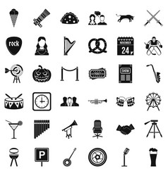 congregation icons set simple style vector image