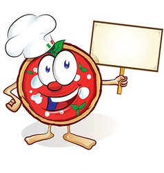 fun pizza cartoon with signboard vector image vector image