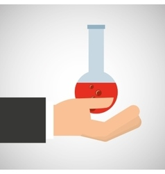 Hand holding research container vector