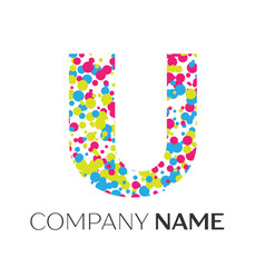 Letter u logo with blue yellow red particles vector