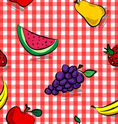 Seamless grungy fruits over red gingham pattern vector image vector image