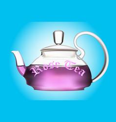 teapot of flower tea vector image vector image